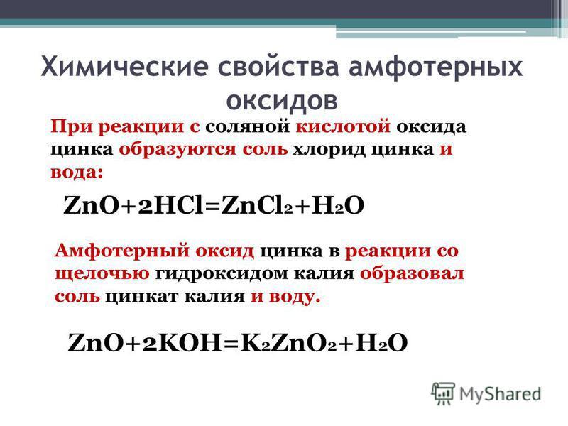 Химические свойства амфотерных оксидов При реакции с соляной кислотой оксида цинка образуются соль хлорид цинка и вода: ZnO+2HCl=ZnCl 2 +H 2 O Амфотерный оксид цинка в реакции со щелочью гидроксидом калия образовал соль цинкат калия и воду. ZnO+2KOH=