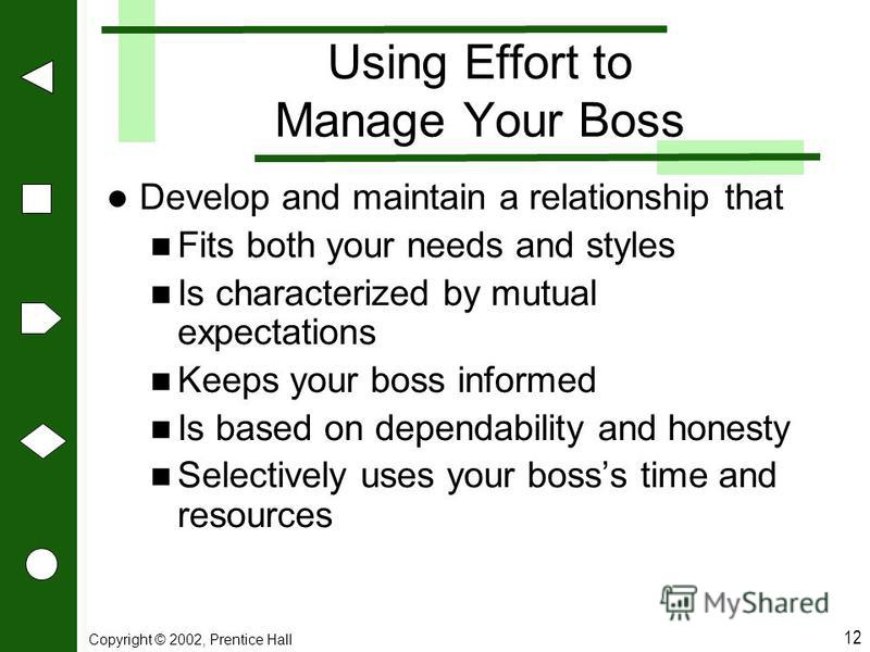 Copyright © 2002, Prentice Hall 12 Using Effort to Manage Your Boss Develop and maintain a relationship that Fits both your needs and styles Is characterized by mutual expectations Keeps your boss informed Is based on dependability and honesty Select