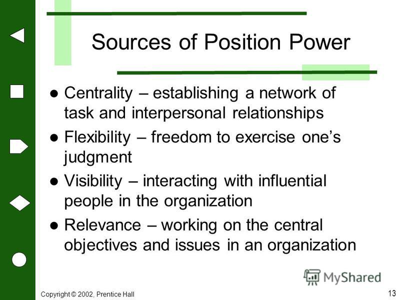 Copyright © 2002, Prentice Hall 13 Sources of Position Power Centrality – establishing a network of task and interpersonal relationships Flexibility – freedom to exercise ones judgment Visibility – interacting with influential people in the organizat