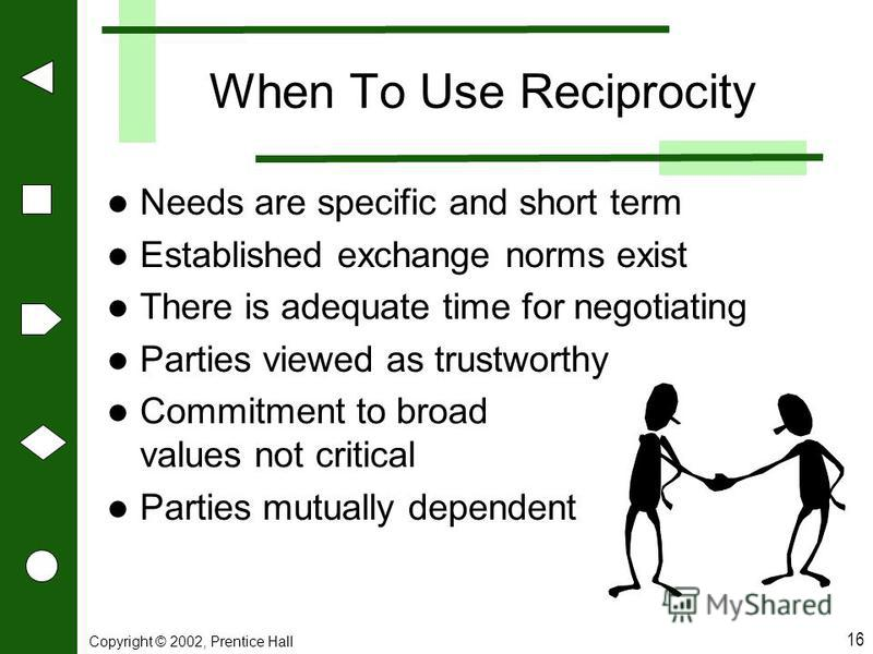 Copyright © 2002, Prentice Hall 16 When To Use Reciprocity Needs are specific and short term Established exchange norms exist There is adequate time for negotiating Parties viewed as trustworthy Commitment to broad values not critical Parties mutuall