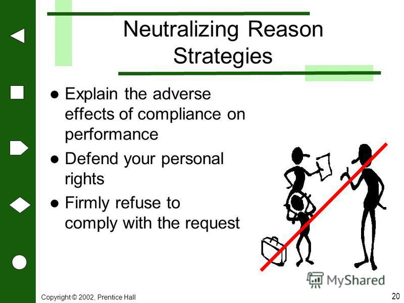 Copyright © 2002, Prentice Hall 20 Neutralizing Reason Strategies Explain the adverse effects of compliance on performance Defend your personal rights Firmly refuse to comply with the request