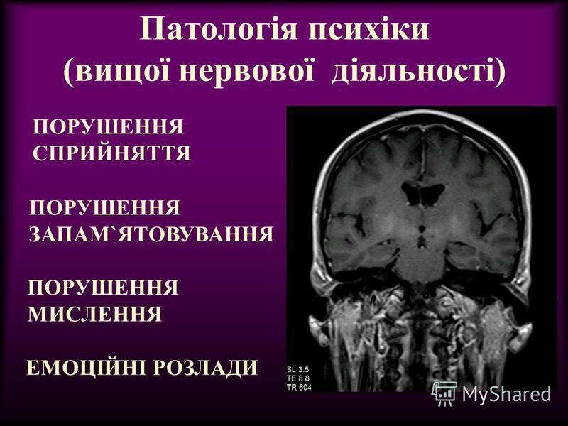 Патологія психіки (вищої нервової діяльності) ПОРУШЕННЯ СПРИЙНЯТТЯ ПОРУШЕННЯ ЗАПАМ`ЯТОВУВАННЯ ЕМОЦІЙНІ РОЗЛАДИ ПОРУШЕННЯ МИСЛЕННЯ