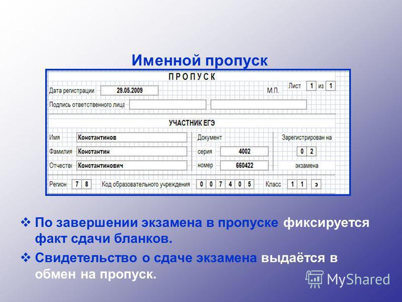Именной пропуск По завершении экзамена в пропуске фиксируется факт сдачи бланков. Свидетельство о сдаче экзамена выдаётся в обмен на пропуск.