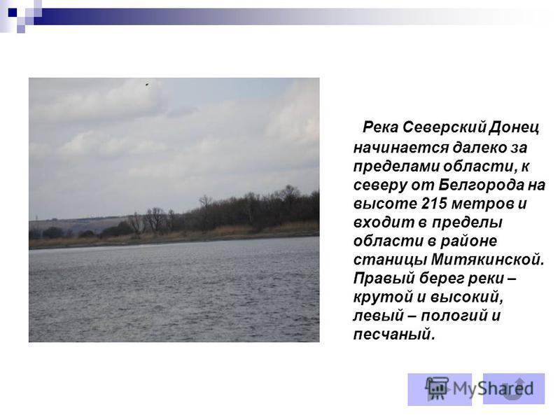 Река Северский Донец начинается далеко за пределами области, к северу от Белгорода на высоте 215 метров и входит в пределы области в районе станицы Митякинской. Правый берег реки – крутой и высокий, левый – пологий и песчаный.