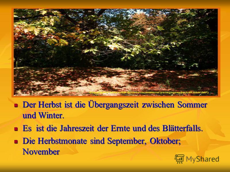 Der Herbst ist die Übergangszeit zwischen Sommer und Winter. Der Herbst ist die Übergangszeit zwischen Sommer und Winter. Es ist die Jahreszeit der Ernte und des Blätterfalls. Es ist die Jahreszeit der Ernte und des Blätterfalls. Die Herbstmonate sin