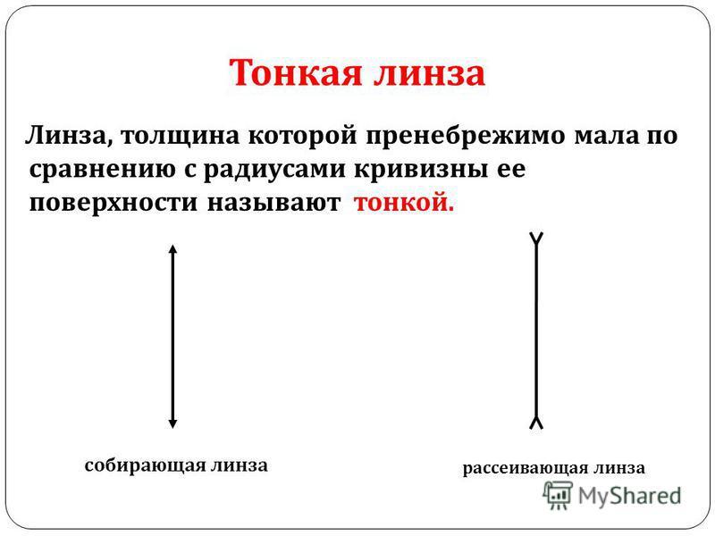 Тонкая линза Линза, толщина которой пренебрежимо мала по сравнению с радиусами кривизны ее поверхности называют тонкой. собирающая линза рассеивающая линза