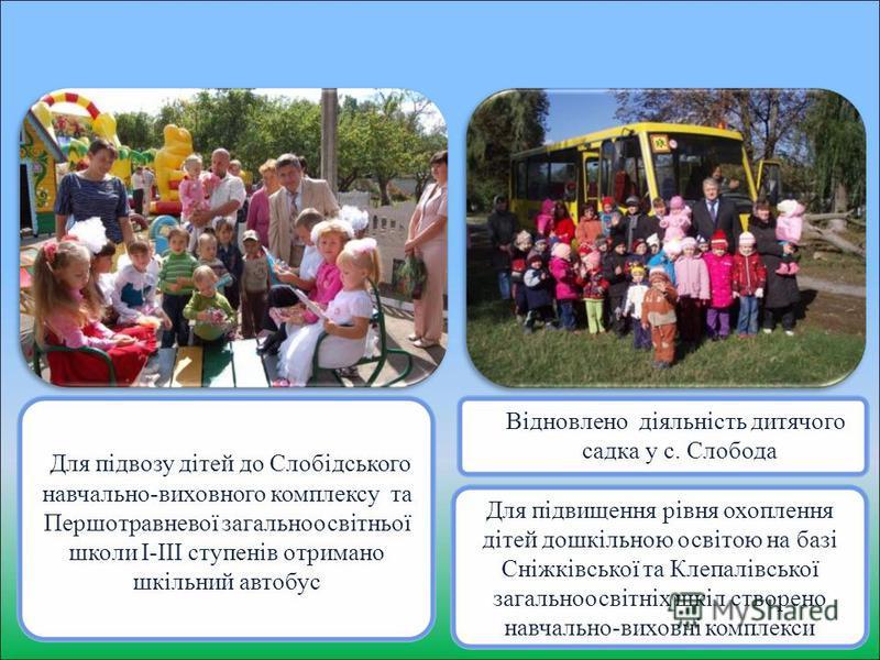 Відновлено діяльність дитячого садка у с. Слобода Для підвозу дітей до Слобідського навчально-виховного комплексу та Першотравневої загальноосвітньої школи І-ІІІ ступенів отримано шкільний автобус Для підвищення рівня охоплення дітей дошкільною освіт