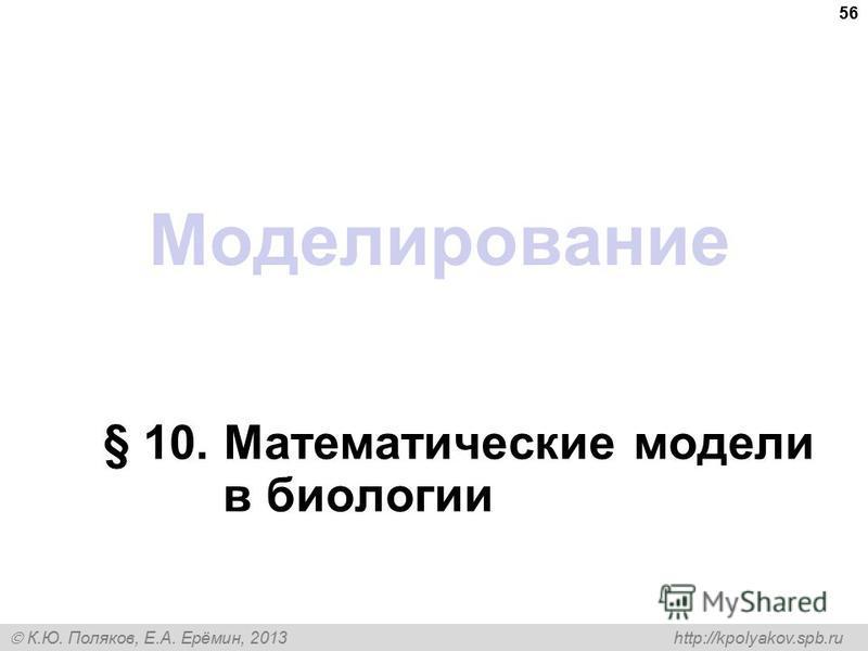 К.Ю. Поляков, Е.А. Ерёмин, 2013 http://kpolyakov.spb.ru Моделирование § 10. Математические модели в биологии 56