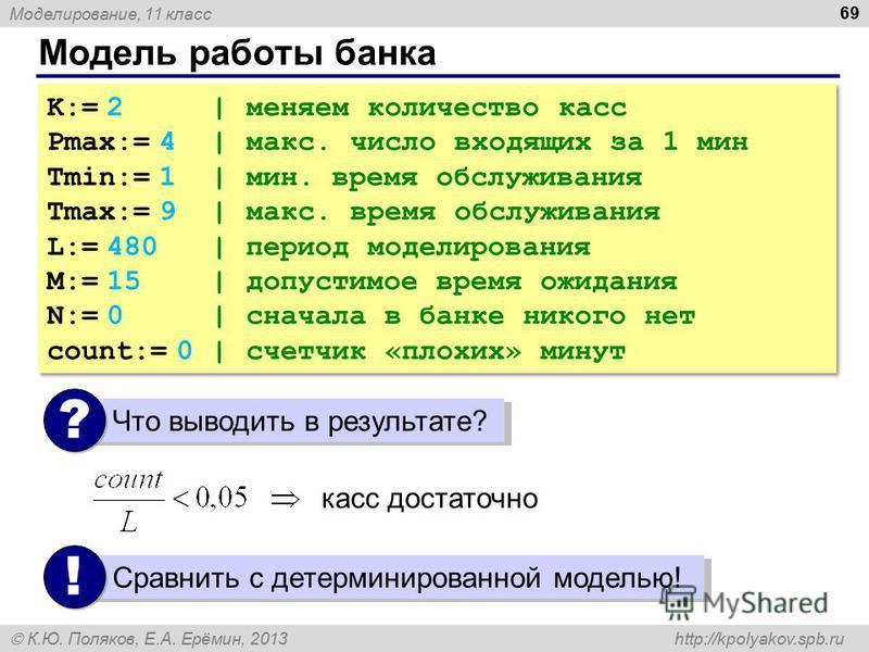 Моделирование, 11 класс К.Ю. Поляков, Е.А. Ерёмин, 2013 http://kpolyakov.spb.ru Модель работы банка 69 K:= 2 | меняем количество касс Pmax:= 4 | макс. число входящих за 1 мин Tmin:= 1 | мин. время обслуживания Tmax:= 9 | макс. время обслуживания L:=