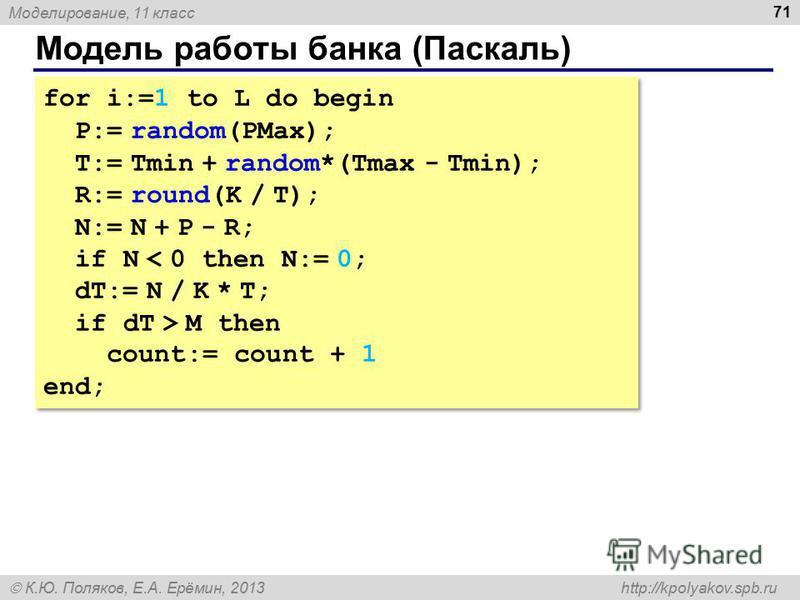 Моделирование, 11 класс К.Ю. Поляков, Е.А. Ерёмин, 2013 http://kpolyakov.spb.ru Модель работы банка (Паскаль) 71 for i:=1 to L do begin P:= random(PMax); T:= Tmin + random*(Tmax - Tmin); R:= round(K / T); N:= N + P - R; if N < 0 then N:= 0; dT:= N /