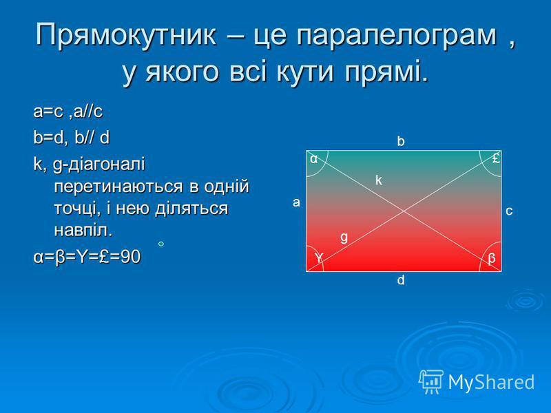 Прямокутник – це паралелограм, у якого всі кути прямі. a=c,a//c b=d, b// d k, g-діагоналі перетинаються в одній точці, і нею діляться навпіл. α=β=Y=£=90 a b c d g k α βY £