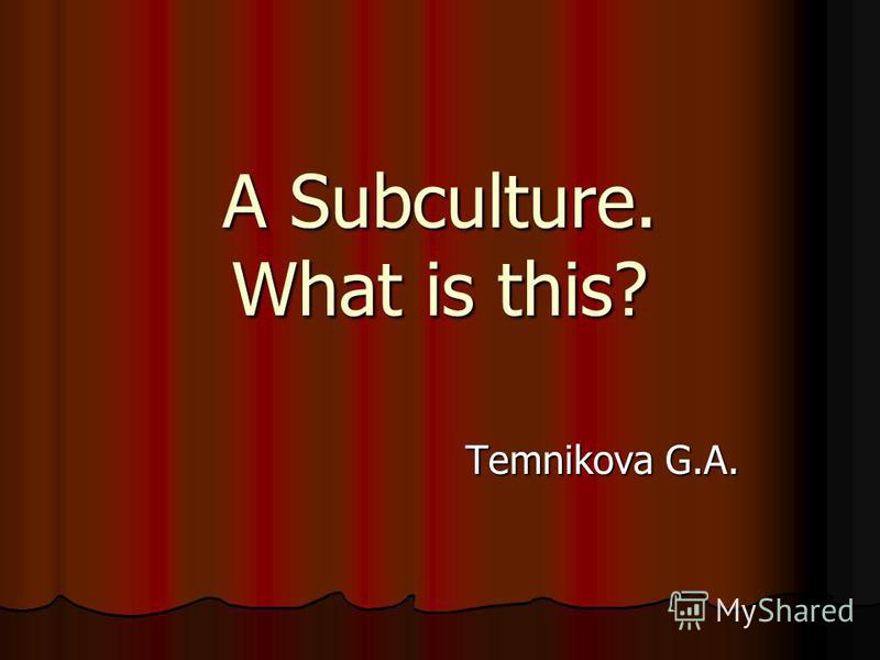 A Subculture. What is this? Temnikova G.A.