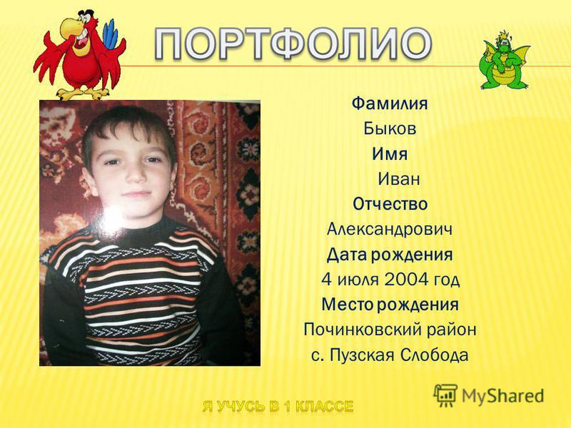 Фамилия Быков Имя Иван Отчество Александрович Дата рождения 4 июля 2004 год Место рождения Починковский район с. Пузская Слобода