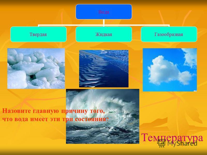 Вода Твердая ЖидкаяГазообразная Назовите главную причину того, что вода имеет эти три состояния ? Температура