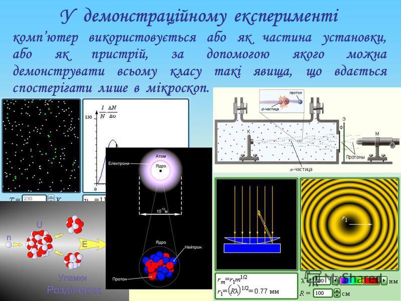 У демонстраційному експерименті компютер використовується або як частина установки, або як пристрій, за допомогою якого можна демонструвати всьому класу такі явища, що вдається спостерігати лише в мікроскоп.