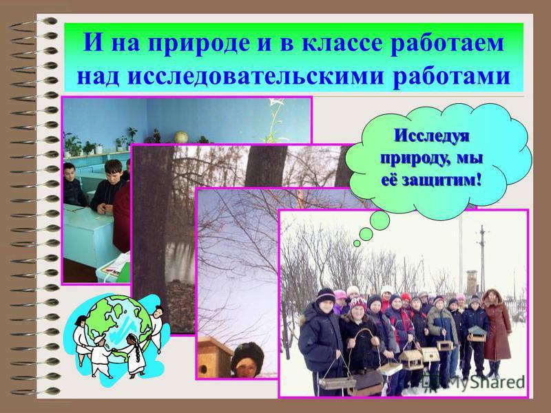 И на природе и в классе работаем над исследовательскими работами Исследуя природу, мы её защитим!