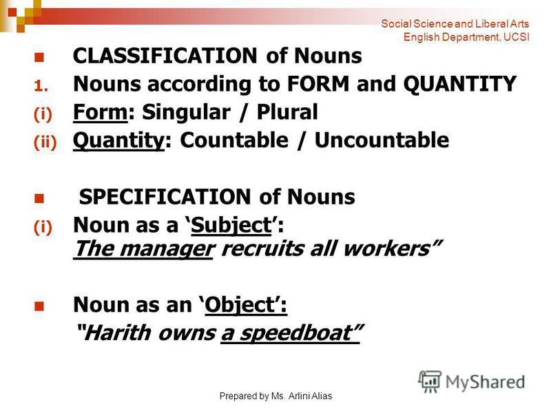Prepared by Ms. Arlini Alias CLASSIFICATION of Nouns Nouns according to FORM and QUANTITY Form: Singular / Plural Quantity: Countable / Uncountable SPECIFICATION of Nouns Noun as a Subject: The manager recruits all workers Noun as an Object: Harith o