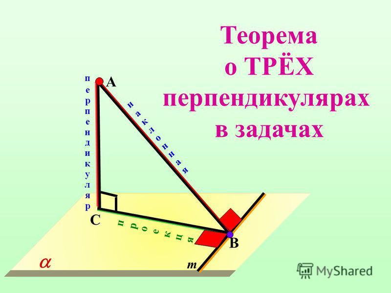 С В наклонная проекцяпроекця m перпендикуляр А Теорема о ТРЁХ перпендикулярах в задачах
