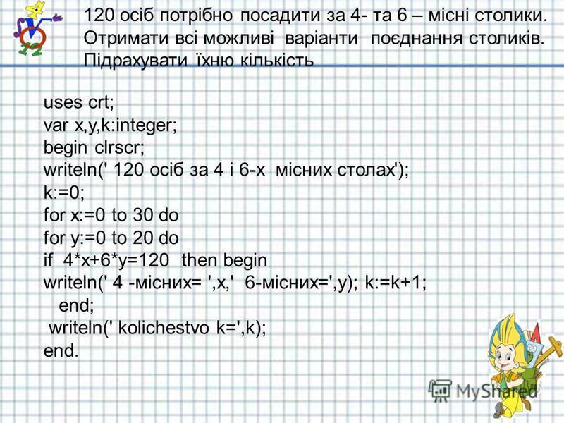 120 осіб потрібно посадити за 4- та 6 – місні столики. Отримати всі можливі варіанти поєднання столиків. Підрахувати їхню кількість uses crt; var x,y,k:integer; begin clrscr; writeln(' 120 осіб за 4 і 6-х місних столах'); k:=0; for x:=0 to 30 do for