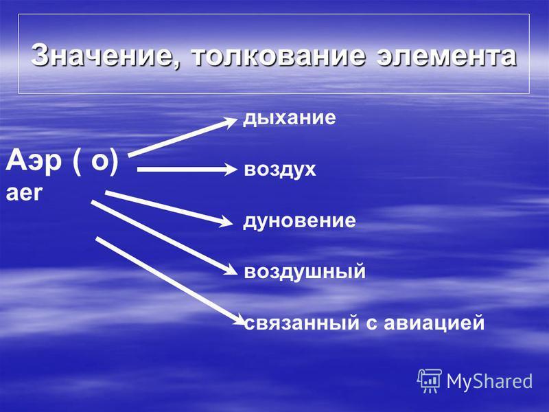 Значение, толкование элемента Аэр ( о) aer дыхание воздух дуновение воздушный связанный с авиацией