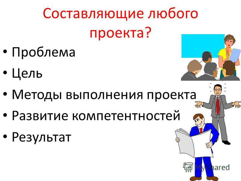 Составляющие любого проекта? Ппроблема Цель Методы выполнения проекта Развитие компетентностей Результат