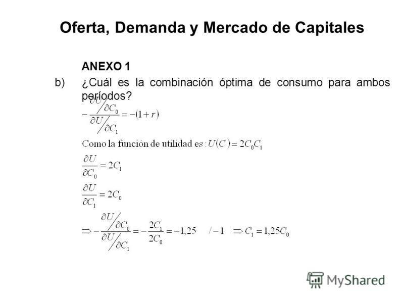 Oferta, Demanda y Mercado de Capitales ANEXO 1 b) ¿Cuál es la combinación óptima de consumo para ambos períodos?