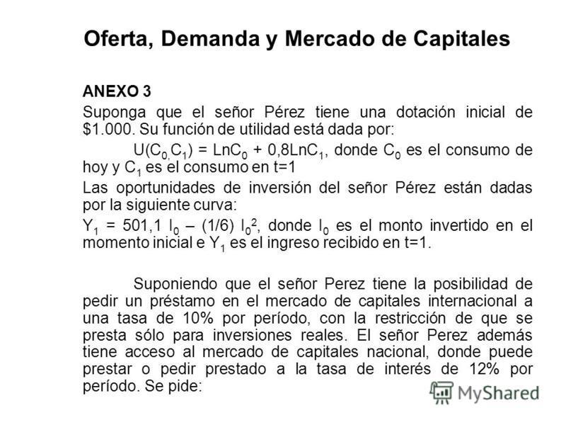 Oferta, Demanda y Mercado de Capitales ANEXO 3 Suponga que el señor Pérez tiene una dotación inicial de $1.000. Su función de utilidad está dada por: U(C 0, C 1 ) = LnC 0 + 0,8LnC 1, donde C 0 es el consumo de hoy y C 1 es el consumo en t=1 Las oport