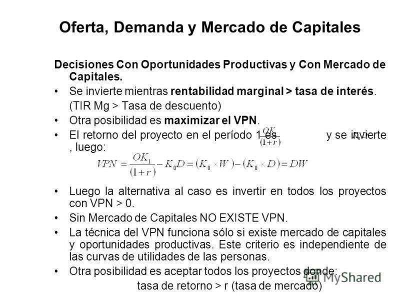 Oferta, Demanda y Mercado de Capitales Decisiones Con Oportunidades Productivas y Con Mercado de Capitales. Se invierte mientras rentabilidad marginal > tasa de interés. (TIR Mg > Tasa de descuento) Otra posibilidad es maximizar el VPN. El retorno de