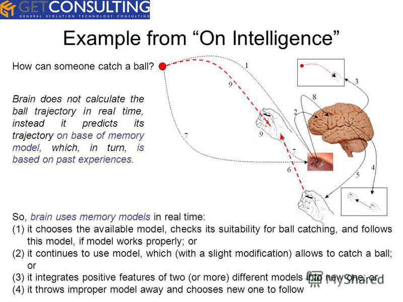 Example from On Intelligence How can someone catch a ball? So, brain uses memory models in real time: (1)it chooses the available model, checks its suitability for ball catching, and follows this model, if model works properly; or (2)it continues to