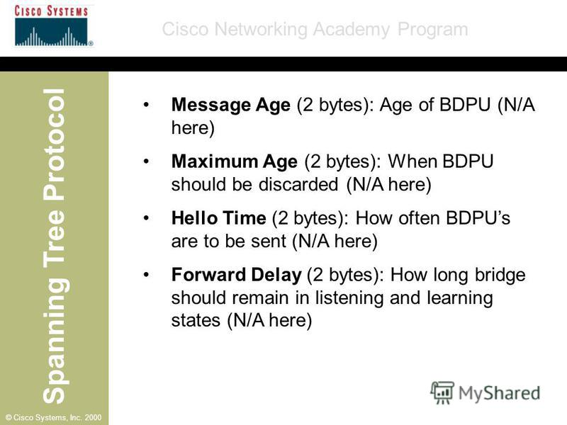 Spanning Tree Protocol Cisco Networking Academy Program © Cisco Systems, Inc. 2000 Message Age (2 bytes): Age of BDPU (N/A here) Maximum Age (2 bytes): When BDPU should be discarded (N/A here) Hello Time (2 bytes): How often BDPUs are to be sent (N/A