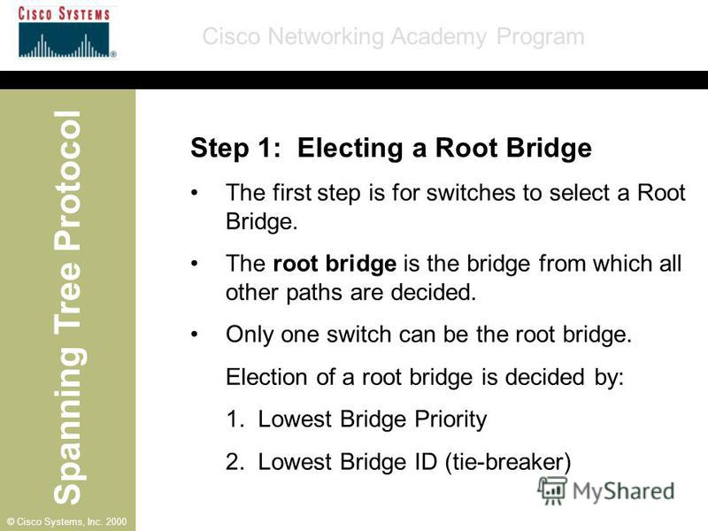 Spanning Tree Protocol Cisco Networking Academy Program © Cisco Systems, Inc. 2000 Step 1: Electing a Root Bridge The first step is for switches to select a Root Bridge. The root bridge is the bridge from which all other paths are decided. Only one s