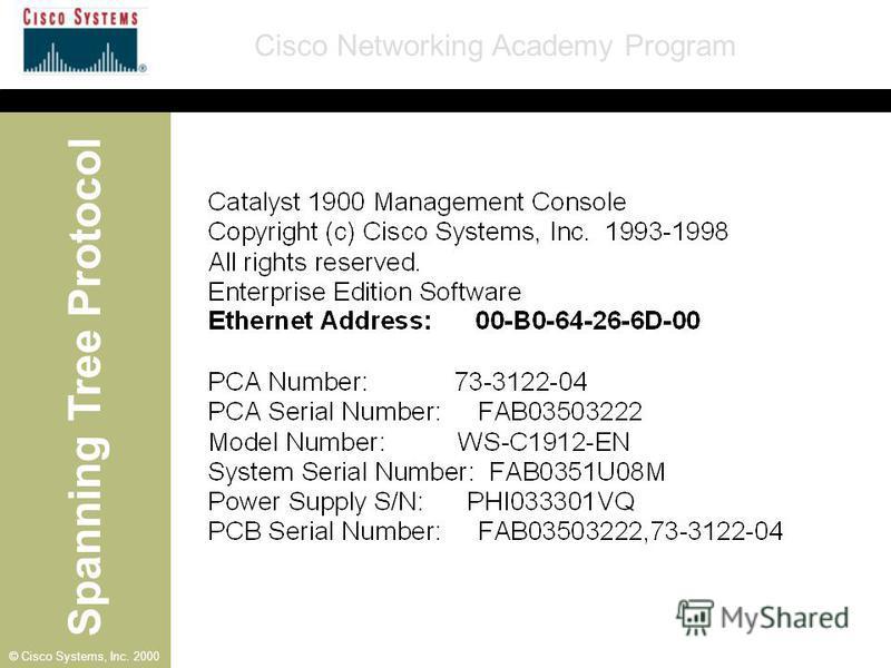 Spanning Tree Protocol Cisco Networking Academy Program © Cisco Systems, Inc. 2000