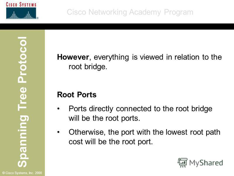 Spanning Tree Protocol Cisco Networking Academy Program © Cisco Systems, Inc. 2000 However, everything is viewed in relation to the root bridge. Root Ports Ports directly connected to the root bridge will be the root ports. Otherwise, the port with t