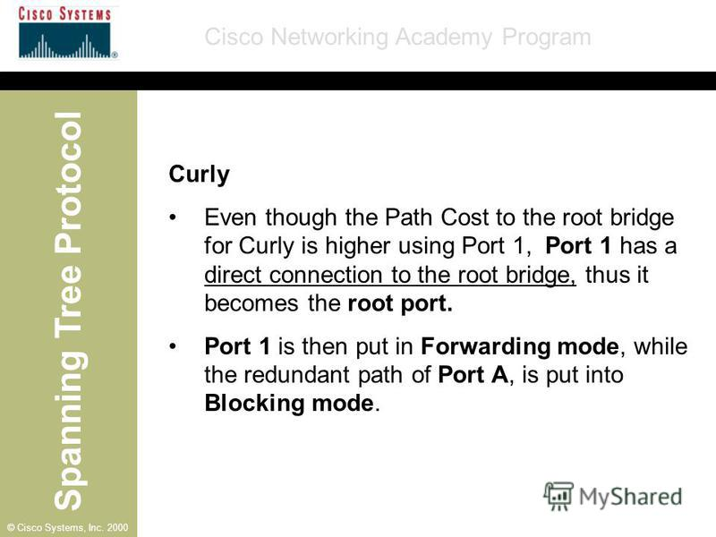 Spanning Tree Protocol Cisco Networking Academy Program © Cisco Systems, Inc. 2000 Curly Even though the Path Cost to the root bridge for Curly is higher using Port 1, Port 1 has a direct connection to the root bridge, thus it becomes the root port.
