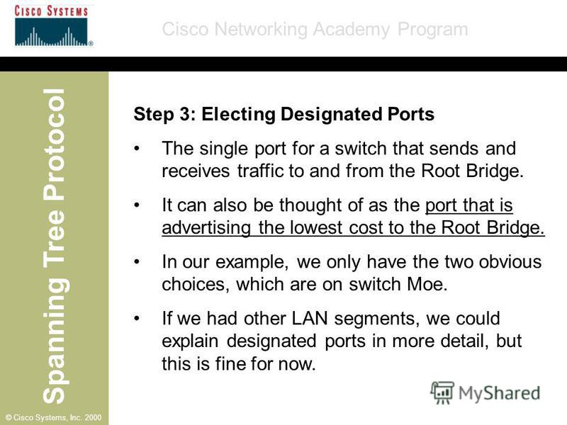Spanning Tree Protocol Cisco Networking Academy Program © Cisco Systems, Inc. 2000 Step 3: Electing Designated Ports The single port for a switch that sends and receives traffic to and from the Root Bridge. It can also be thought of as the port that