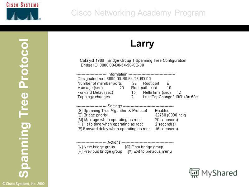 Spanning Tree Protocol Cisco Networking Academy Program © Cisco Systems, Inc. 2000 Larry