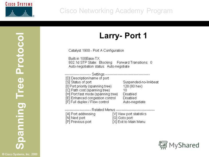 Spanning Tree Protocol Cisco Networking Academy Program © Cisco Systems, Inc. 2000 Larry- Port 1