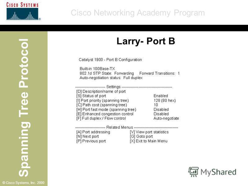 Spanning Tree Protocol Cisco Networking Academy Program © Cisco Systems, Inc. 2000 Larry- Port B