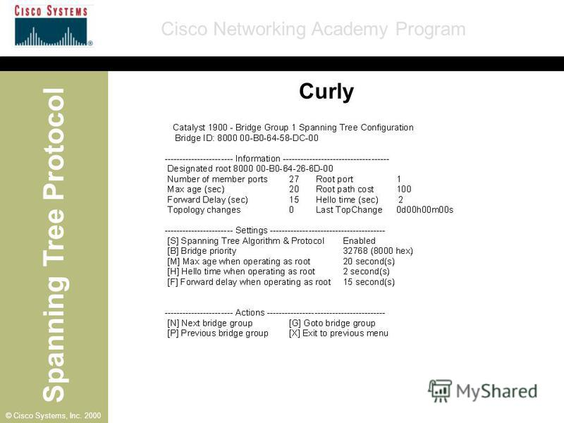 Spanning Tree Protocol Cisco Networking Academy Program © Cisco Systems, Inc. 2000 Curly