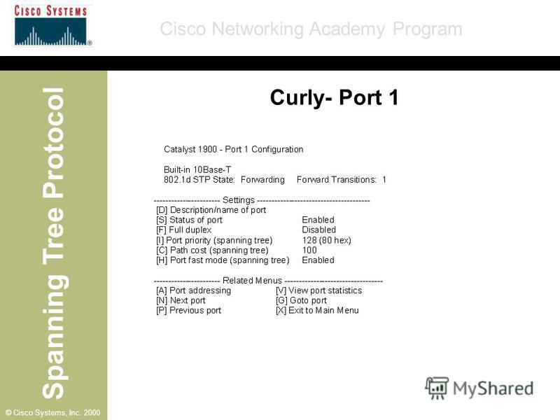 Spanning Tree Protocol Cisco Networking Academy Program © Cisco Systems, Inc. 2000 Curly- Port 1