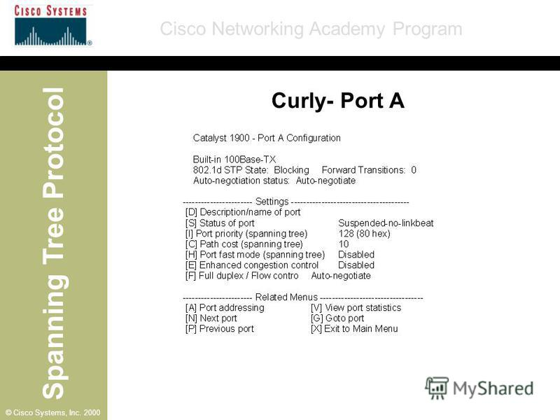 Spanning Tree Protocol Cisco Networking Academy Program © Cisco Systems, Inc. 2000 Curly- Port A