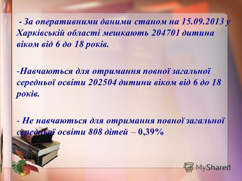 - За оперативними даними станом на 15.09.2013 у Харківській області мешкають 204701 дитина віком від 6 до 18 років. -Навчаються для отримання повної загальної середньої освіти 202504 дитини віком від 6 до 18 років. - Не навчаються для отримання повно