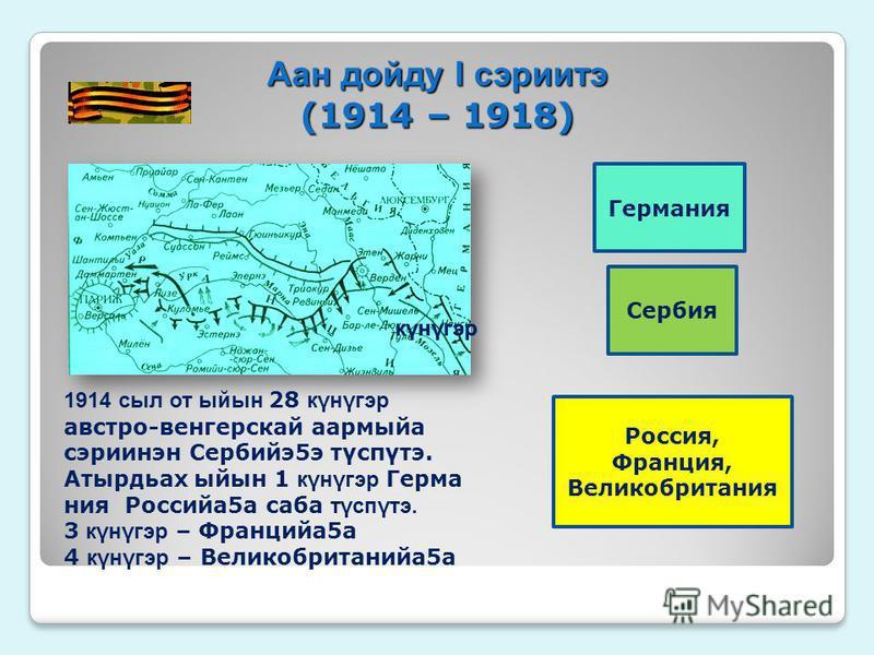 Аан дойду I серии тэ (1914 – 1918) Сербия Россия, Франция, Великобритания Германия 1914 сил от ыйсын 28 кγнγгэр австро-венгерской аармыйа сериинэн Сербийэ 5 э тγспγтэ. Атырдьах ыйсын 1 кγнγгэр Герма ния Российа 5 а саба тγспγтэ. 3 кγнγгэр – Францийа