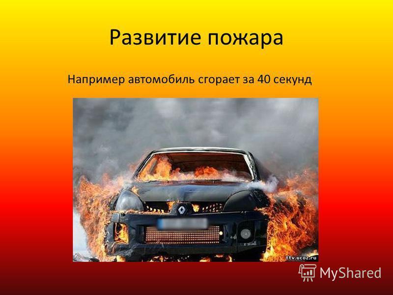 Развитие пожара Пожар развивается быстро, а иногда так стремительно, что люди не успевают покинуть опасное место.