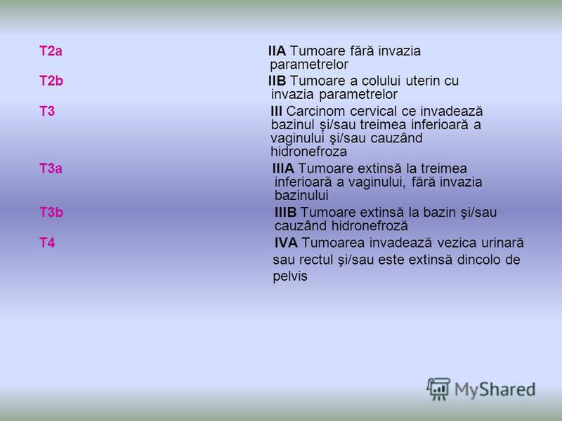 T2a IIA Tumoare fără invazia parametrelor T2b IIB Tumoare a colului uterin cu invazia parametrelor T3 III Carcinom cervical ce invadează bazinul şi/sau treimea inferioară a vaginului şi/sau cauzând hidronefroza T3a IIIA Tumoare extinsă la treimea inf