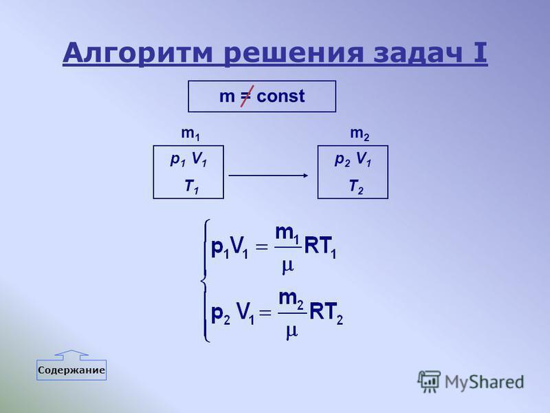 Алгоритм решения задач I m = const p 1 V 1 T 1 p 2 V 1 T 2 m1m1 m2m2 Содержание