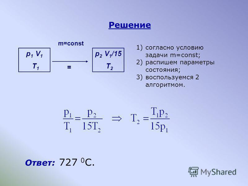 Решение Ответ: 727 0 C. p 1 V 1 T 1 p 2 V 1 /15 T 2 = m=const 1)согласно условию задачи m=const; 2)распишем параметры состояния; 3)воспользуемся 2 алгоритмом.