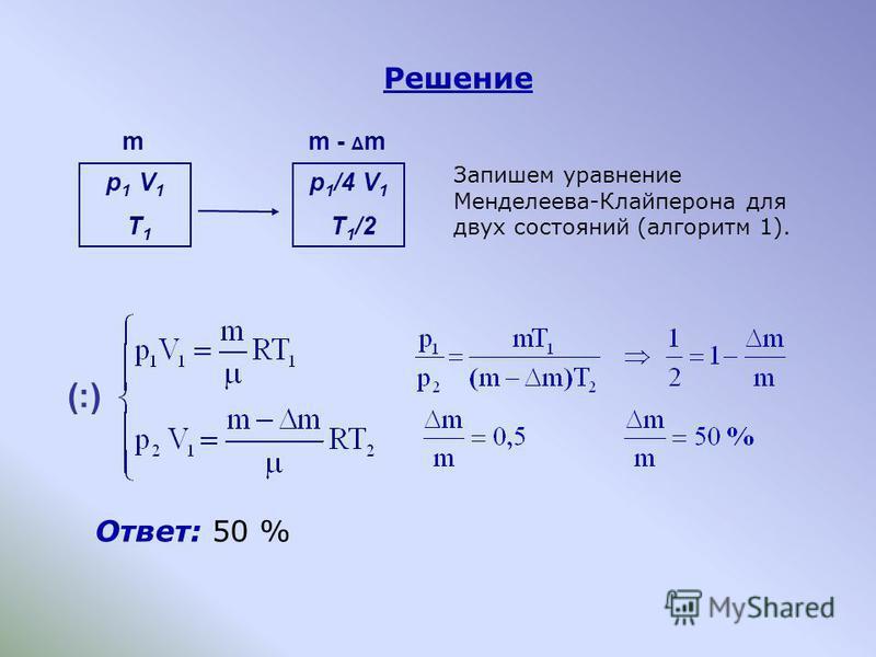 Решение Ответ: 50 % Запишем уравнение Менделеева-Клайперона для двух состояний (алгоритм 1). p 1 V 1 T 1 p 1 /4 V 1 T 1 /2 mm - Δ m (:)