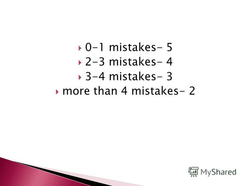 0-1 mistakes- 5 2-3 mistakes- 4 3-4 mistakes- 3 more than 4 mistakes- 2