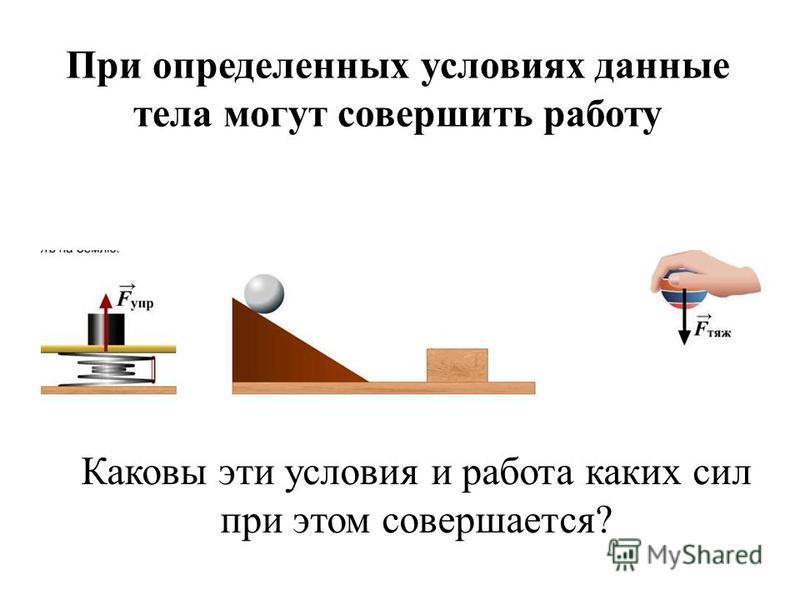 При определенных условиях данные тела могут совершить работу Каковы эти условия и работа каких сил при этом совершается?